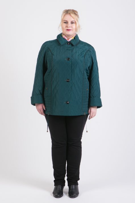Куртка из стежки с капюшоном, цвет зеленый в интернет-магазине Фабрики Тревери