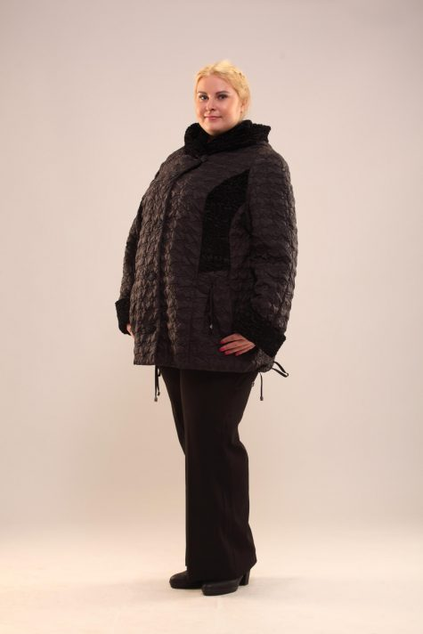 Куртка из стежки с каракулем, цвет черный в интернет-магазине Фабрики Тревери