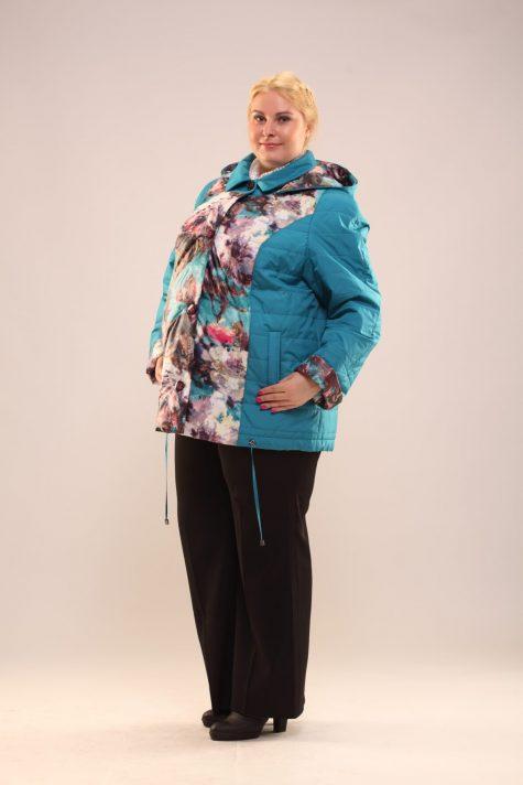 Куртка из стежки с плащевкой, цвет бирюзовый в интернет-магазине Фабрики Тревери
