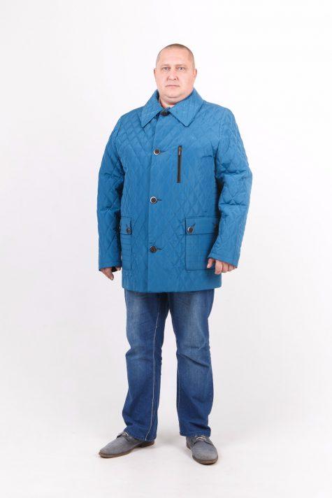 Куртка из стежки с воротником, цвет бирюзовый в интернет-магазине Фабрики Тревери