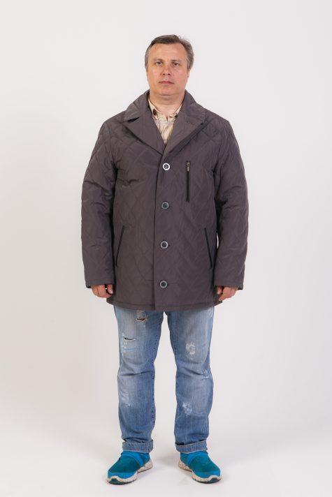 Куртка из стежки с воротником, цвет серый в интернет-магазине Фабрики Тревери