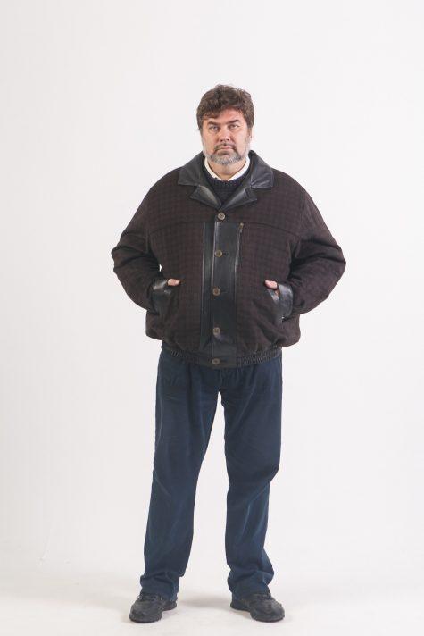 Куртка Пилот из драпа и кожи, цвет черный в интернет-магазине Фабрики Тревери
