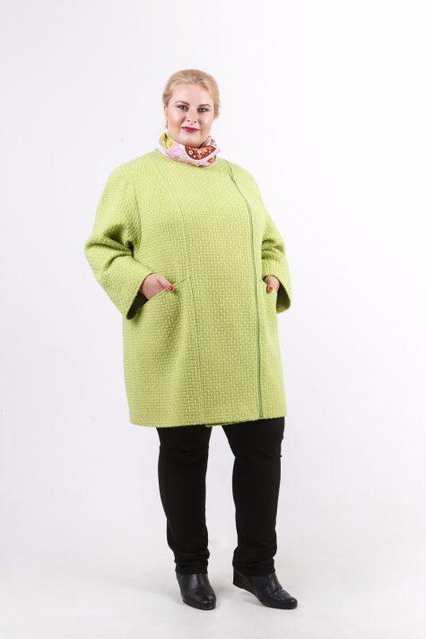 Легкое пальто на молнии с рукавом 3/4, цвет салатовый в интернет-магазине Фабрики Тревери
