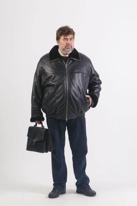 Мужская дубленка-пилот на молнии, цвет черный в интернет-магазине Фабрики Тревери
