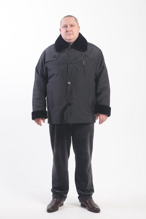 Мужская куртка с подстежкой из овчины, цвет черный в интернет-магазине Фабрики Тревери