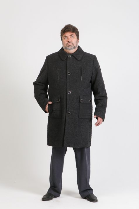 Мужское комбинированное пальто из драпа и стежки, цвет черный в интернет-магазине Фабрики Тревери