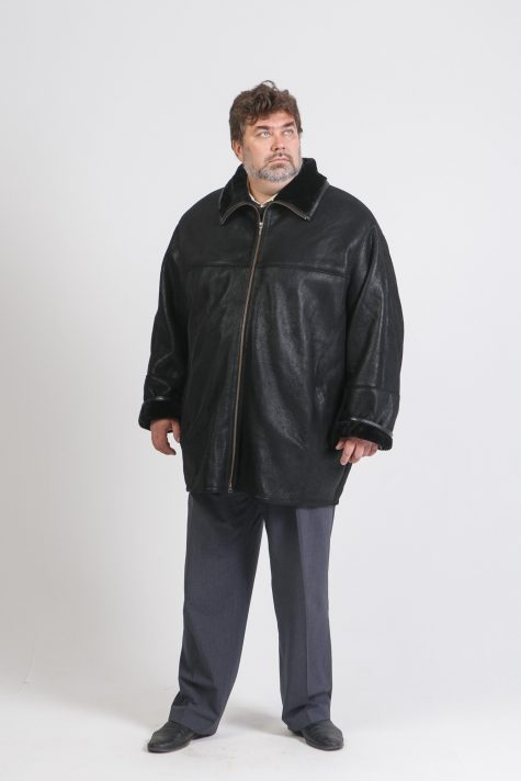 Натуральная дубленка на молнии, цвет черный в интернет-магазине Фабрики Тревери