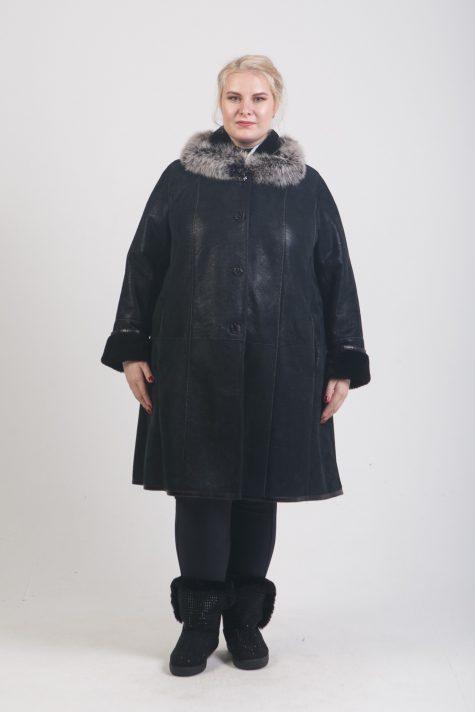 Натуральная дубленка с песцом, цвет черный в интернет-магазине Фабрики Тревери