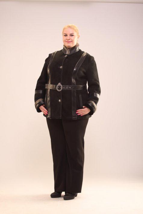 Натуральная дубленка с поясом, цвет черный в интернет-магазине Фабрики Тревери