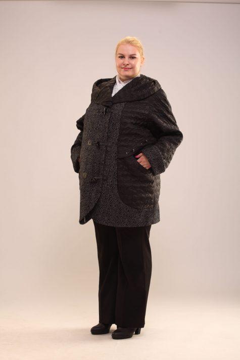 Пальто из драпа и стежки, цвет черный в интернет-магазине Фабрики Тревери