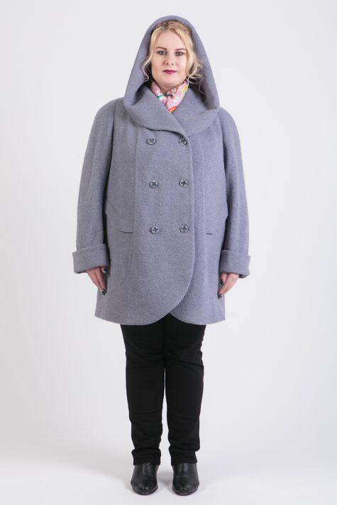 Пальто из драпа с капюшоном, цвет серый в интернет-магазине Фабрики Тревери