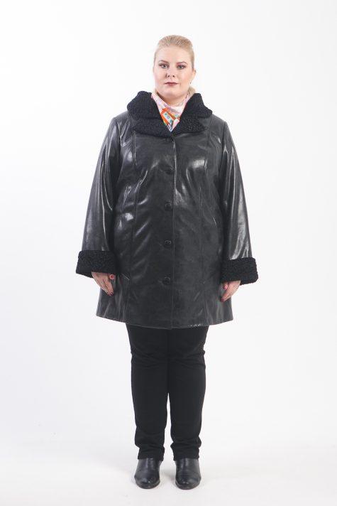 Пальто из эко-кожи с каракулем, цвет черный в интернет-магазине Фабрики Тревери