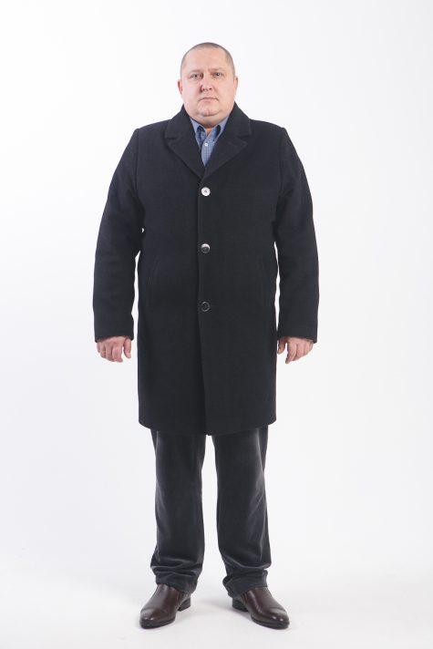 Пальто из итальянского драпа в рубчик, цвет черный в интернет-магазине Фабрики Тревери
