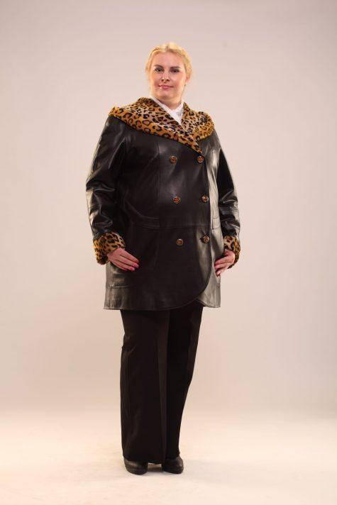 Пальто из кожи с леопардовой отделкой, цвет черный в интернет-магазине Фабрики Тревери