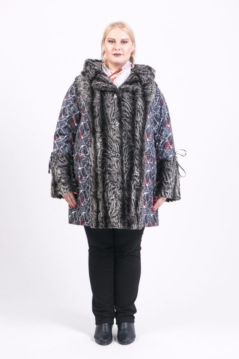 Пальто из меха и плащевки, цвет серый в интернет-магазине Фабрики Тревери