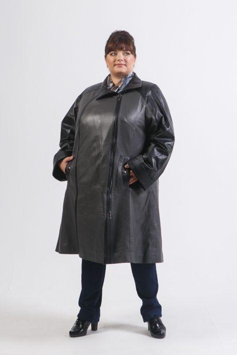 Пальто из натуральной кожи двух цветов, цвет черный в интернет-магазине Фабрики Тревери