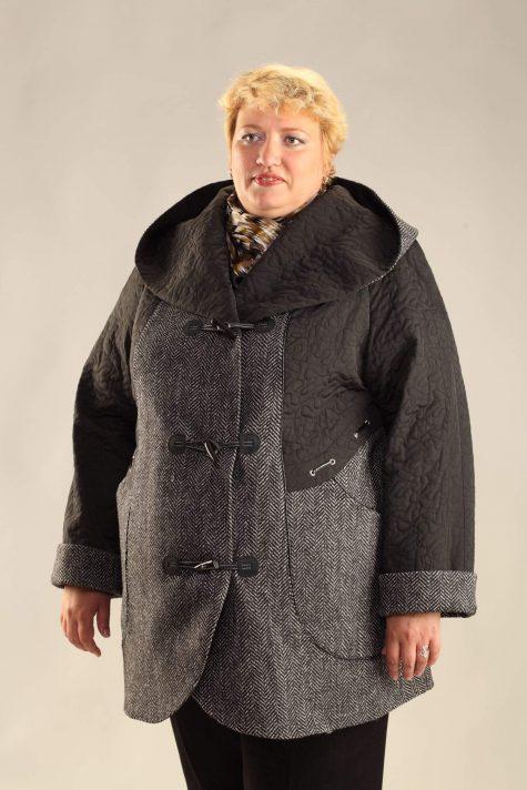 Пальто из стежки и драпа, цвет серый в интернет-магазине Фабрики Тревери