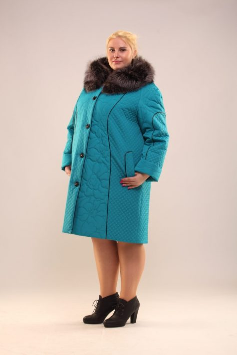 Пальто из стежки с чернобуркой, цвет бирюзовый в интернет-магазине Фабрики Тревери