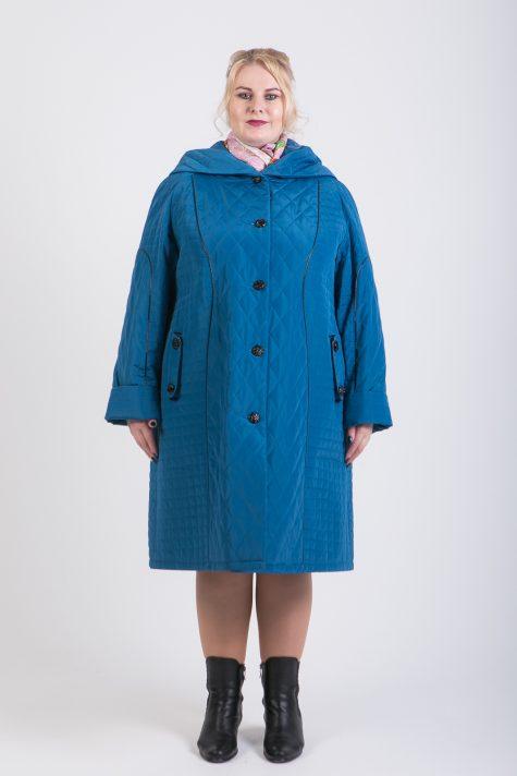 Пальто из стежки с кантом из кожи, цвет бирюзовый в интернет-магазине Фабрики Тревери