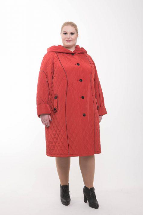 Пальто из стежки с кантом из кожи, цвет красный в интернет-магазине Фабрики Тревери