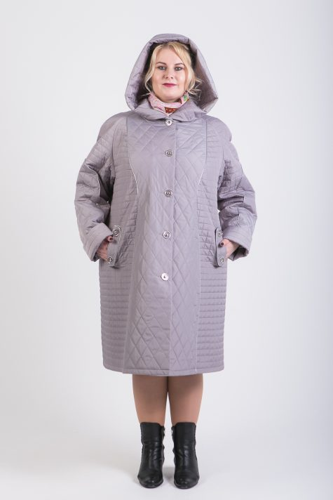 Пальто из стежки с кантом из кожи, цвет серый в интернет-магазине Фабрики Тревери