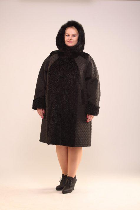 Пальто из стежки с каракулем, цвет черный в интернет-магазине Фабрики Тревери