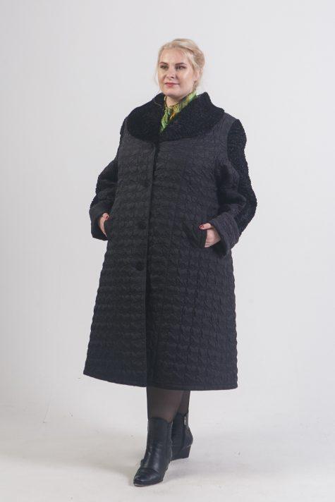 Пальто из стежки с отделкой каракулем, цвет черный в интернет-магазине Фабрики Тревери