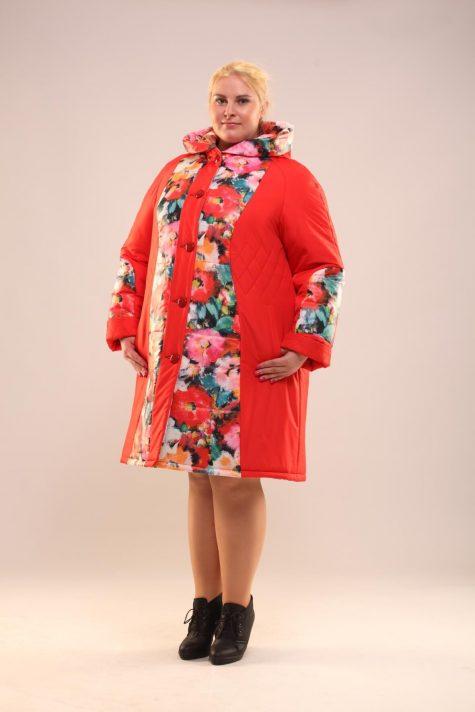 Пальто из стежки с плащевкой, цвет красный в интернет-магазине Фабрики Тревери