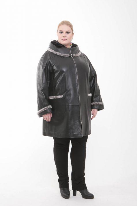 Пальто-куртка из кожи на молнии, цвет черный в интернет-магазине Фабрики Тревери