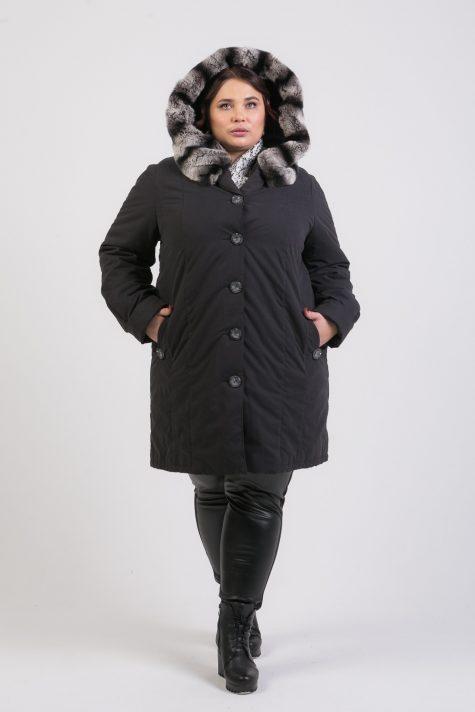 Пальто на подстежке с мехом по капюшону, цвет черный в интернет-магазине Фабрики Тревери