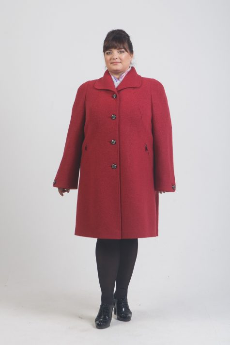 Пальто прямого силуэта из драпа, цвет красный в интернет-магазине Фабрики Тревери