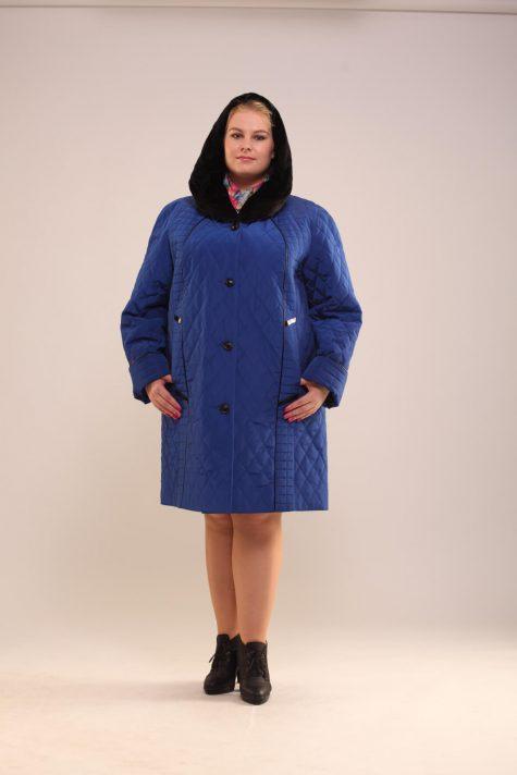 Пальто с кожаным кантом, цвет голубой в интернет-магазине Фабрики Тревери