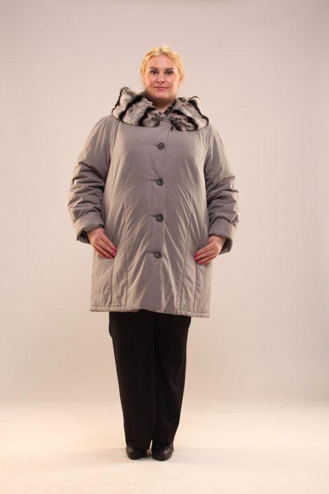 Пальто с подстежкой из кролика, цвет серый в интернет-магазине Фабрики Тревери