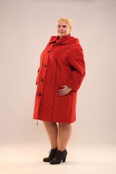 Пальто с воротником и пристегивающимся капюшоном, цвет красный в интернет-магазине Фабрики Тревери