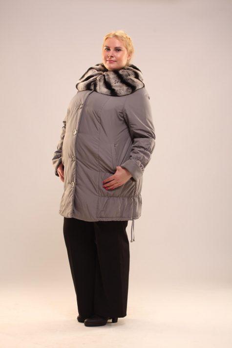 Пальто с воротником на подстежке из кролика, цвет серый в интернет-магазине Фабрики Тревери