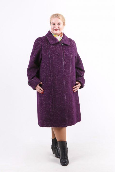 Пальто трапеция из драпа, цвет фиолетовый в интернет-магазине Фабрики Тревери