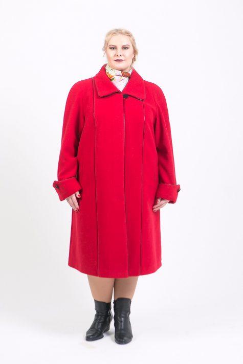 Пальто трапеция из драпа, цвет красный в интернет-магазине Фабрики Тревери