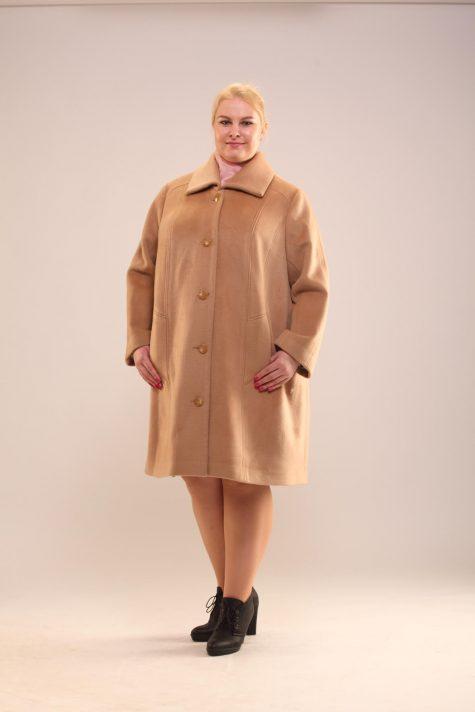 Пальто трапеция из драпа, цвет золотистый в интернет-магазине Фабрики Тревери