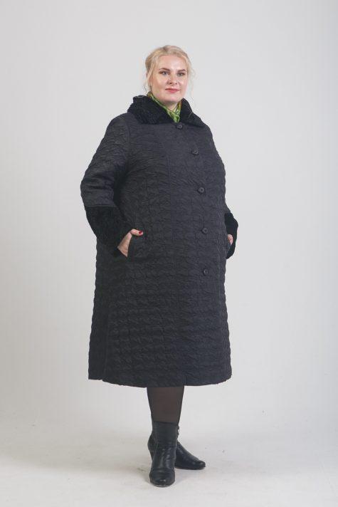 Пальто трапеция из стежки, цвет черный в интернет-магазине Фабрики Тревери