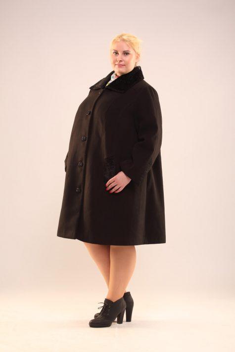 Пальто трапеция с каракулевым воротником, цвет черный в интернет-магазине Фабрики Тревери