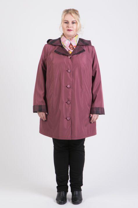 Плащ трансформер с воротником и капюшоном, цвет бордовый в интернет-магазине Фабрики Тревери