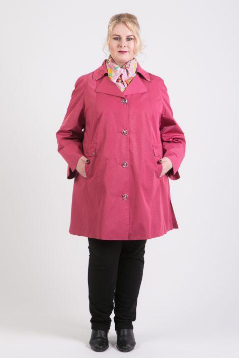 Плащ тренч с V-образным вырезом, цвет светло-розовый в интернет-магазине Фабрики Тревери