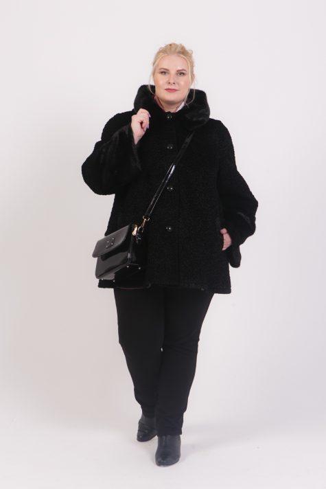 Полушубок из экомеха кёрли с норковой отделкой, цвет черный в интернет-магазине Фабрики Тревери