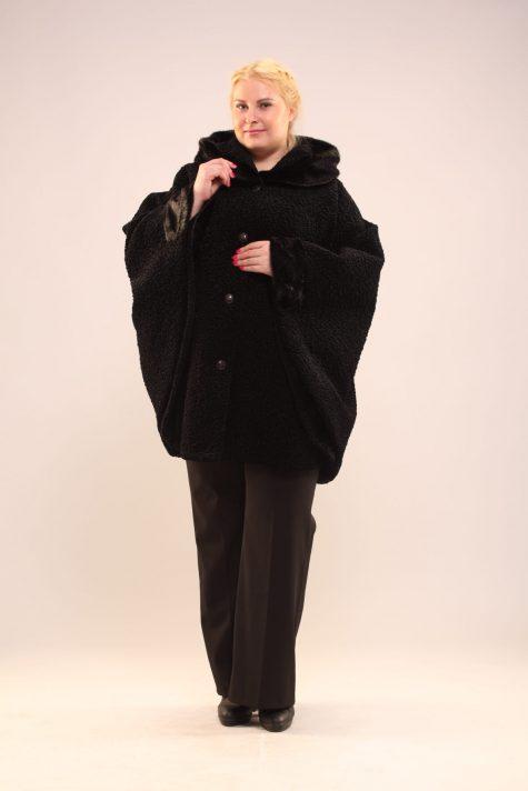 Пончо из каракуля с капюшоном, цвет черный в интернет-магазине Фабрики Тревери