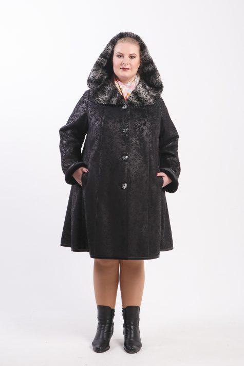 Расклешенная дубленка с меховым капюшоном, цвет черный в интернет-магазине Фабрики Тревери