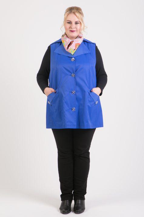 Расклешенный жилет из плащевки, цвет голубой в интернет-магазине Фабрики Тревери
