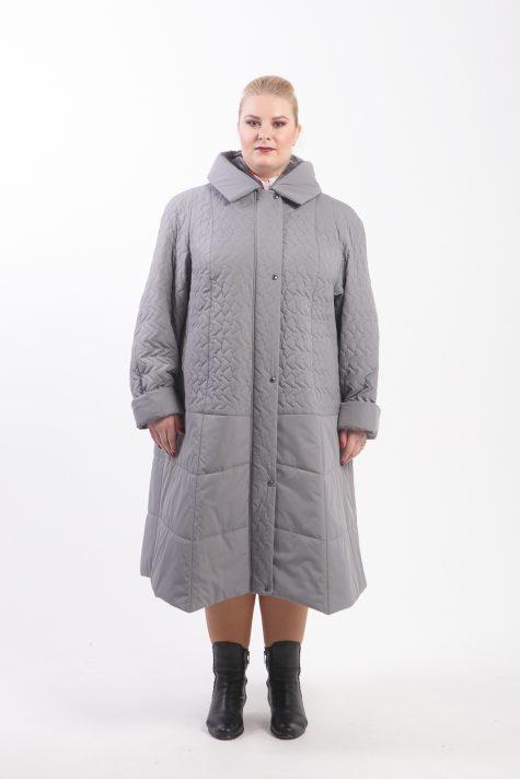 Серое стеганное пальто с капюшоном, цвет серый в интернет-магазине Фабрики Тревери