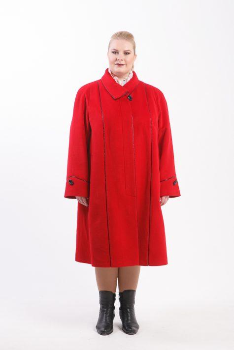 Шерстяное пальто из ворсового драпа, цвет красный в интернет-магазине Фабрики Тревери
