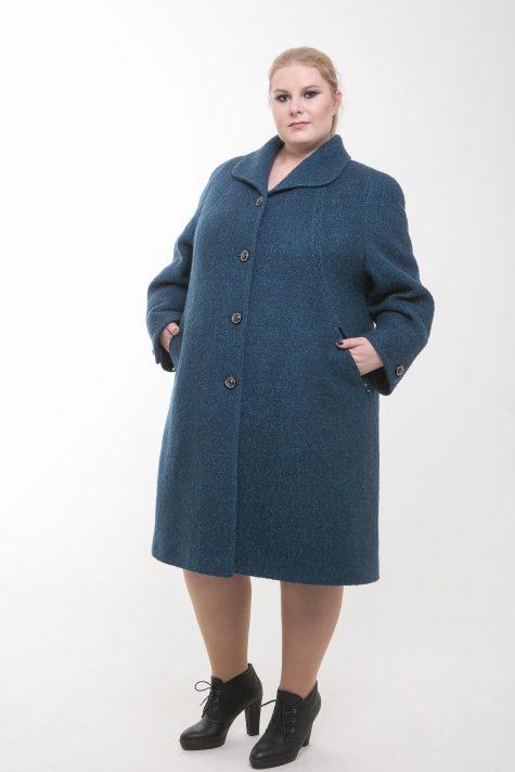 Шерстяное пальто прямого силуэта, цвет бирюзовый в интернет-магазине Фабрики Тревери