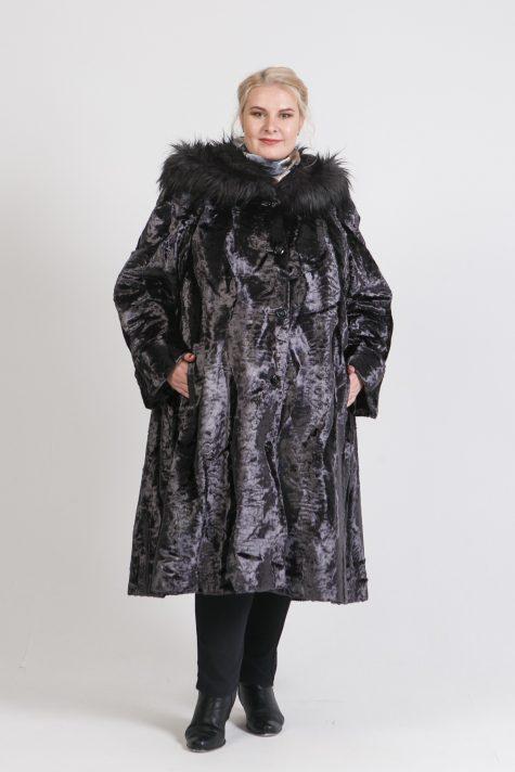 Шуба под каракуль с меховой отделкой, цвет серый в интернет-магазине Фабрики Тревери
